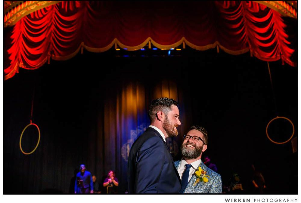 Uptown Theater Kansas City same sex wedding photos | Teaser Tuesday
