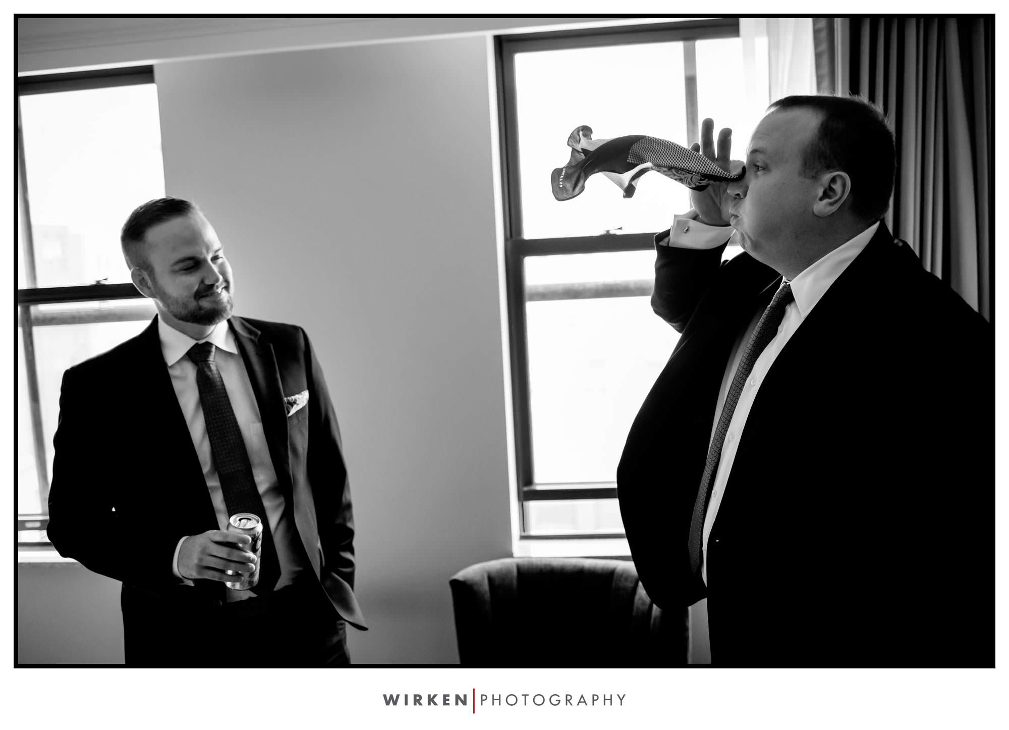 Ryans groomsmen thinks he's a elephant at the Presidential Hotel in Kansas City.
