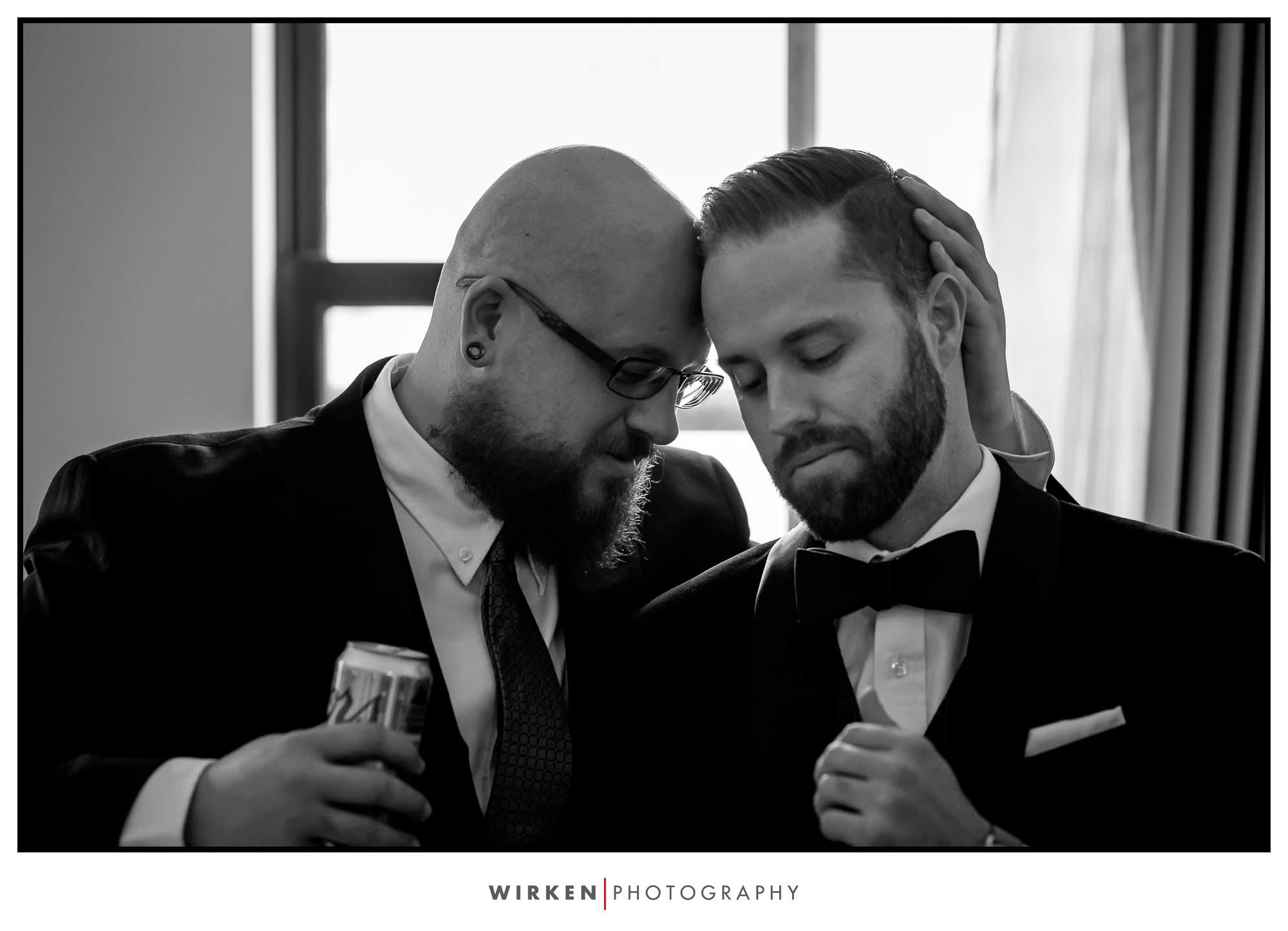 Ryan shares a quiet moment before his Kansas City wedding