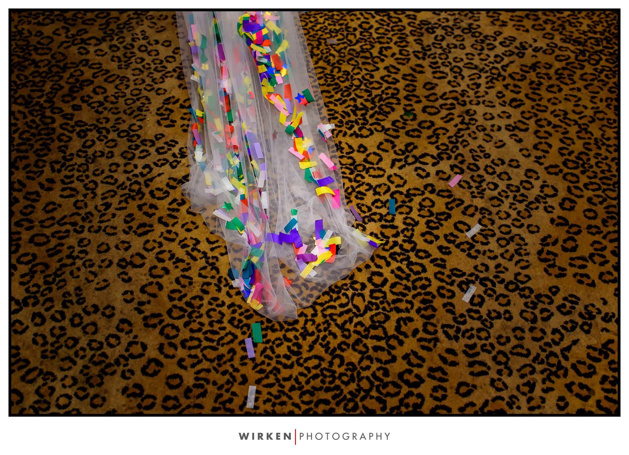 Leah's veil sprinkled with confetti.