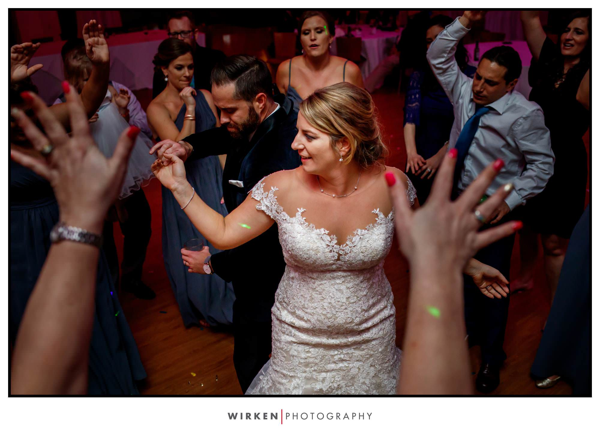 Leah and Ryan dance at their Gallery Center wedding reception.
