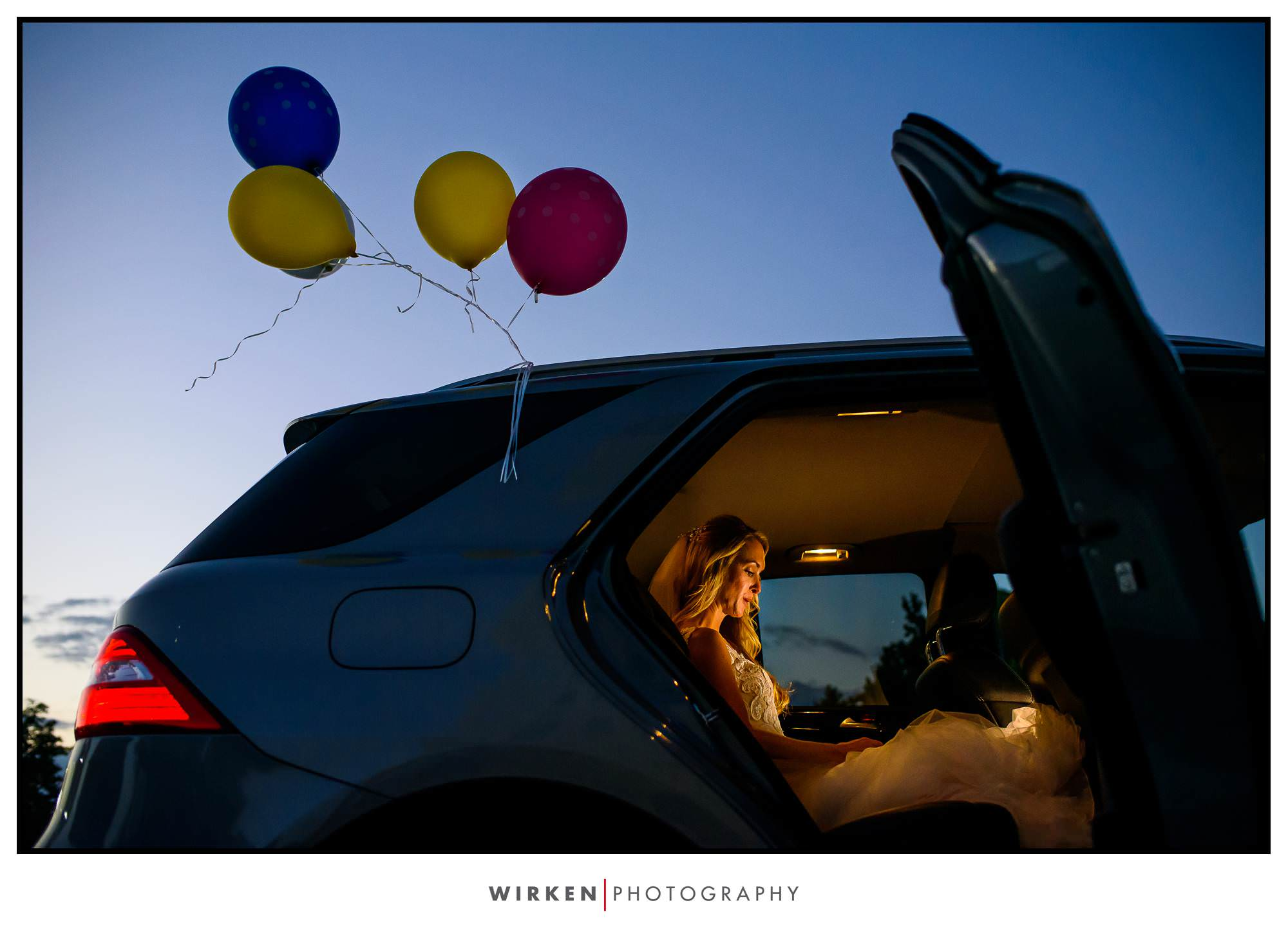 Bride waiting in car for her wedding in Kansas City