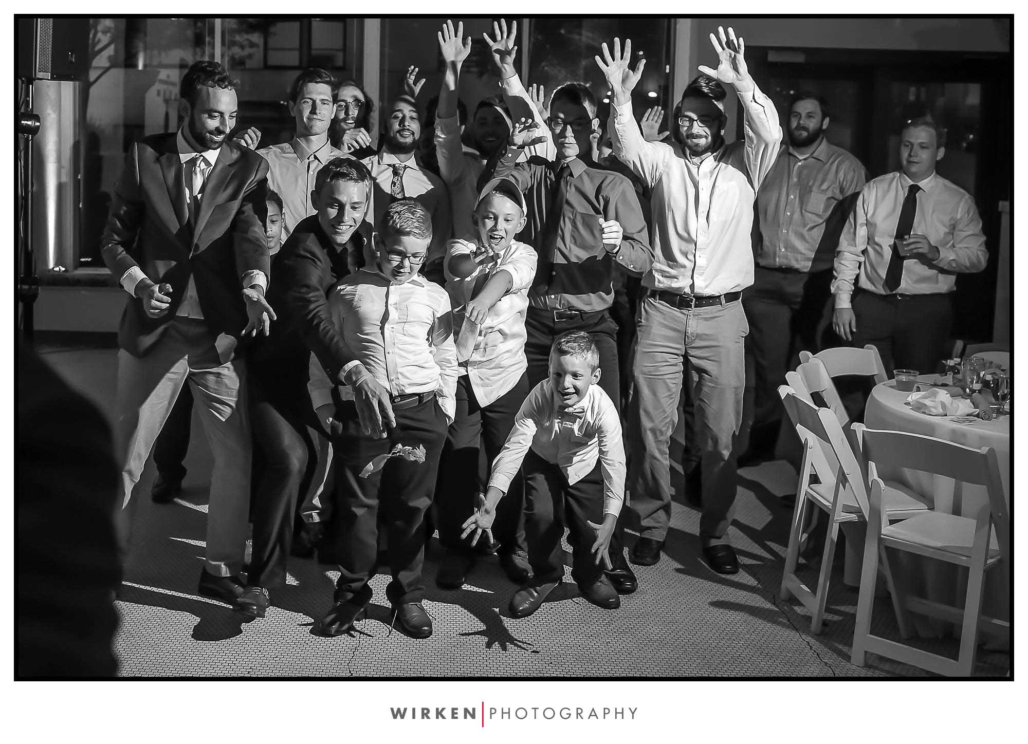 Garter toss at Kansas City wedding