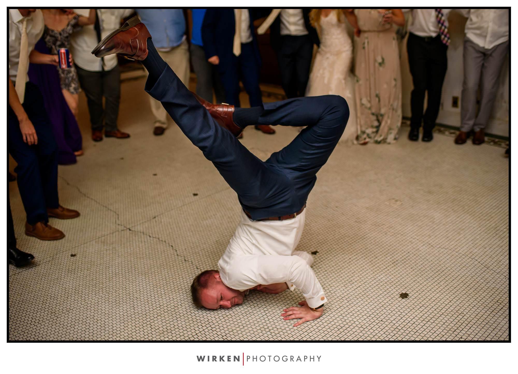Break dancing at Kansas City Wedding