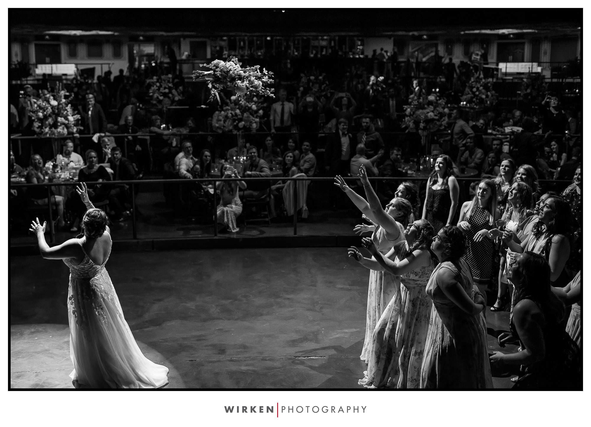 Midland Theatre Wedding in Kansas City epic reception bouquet toss