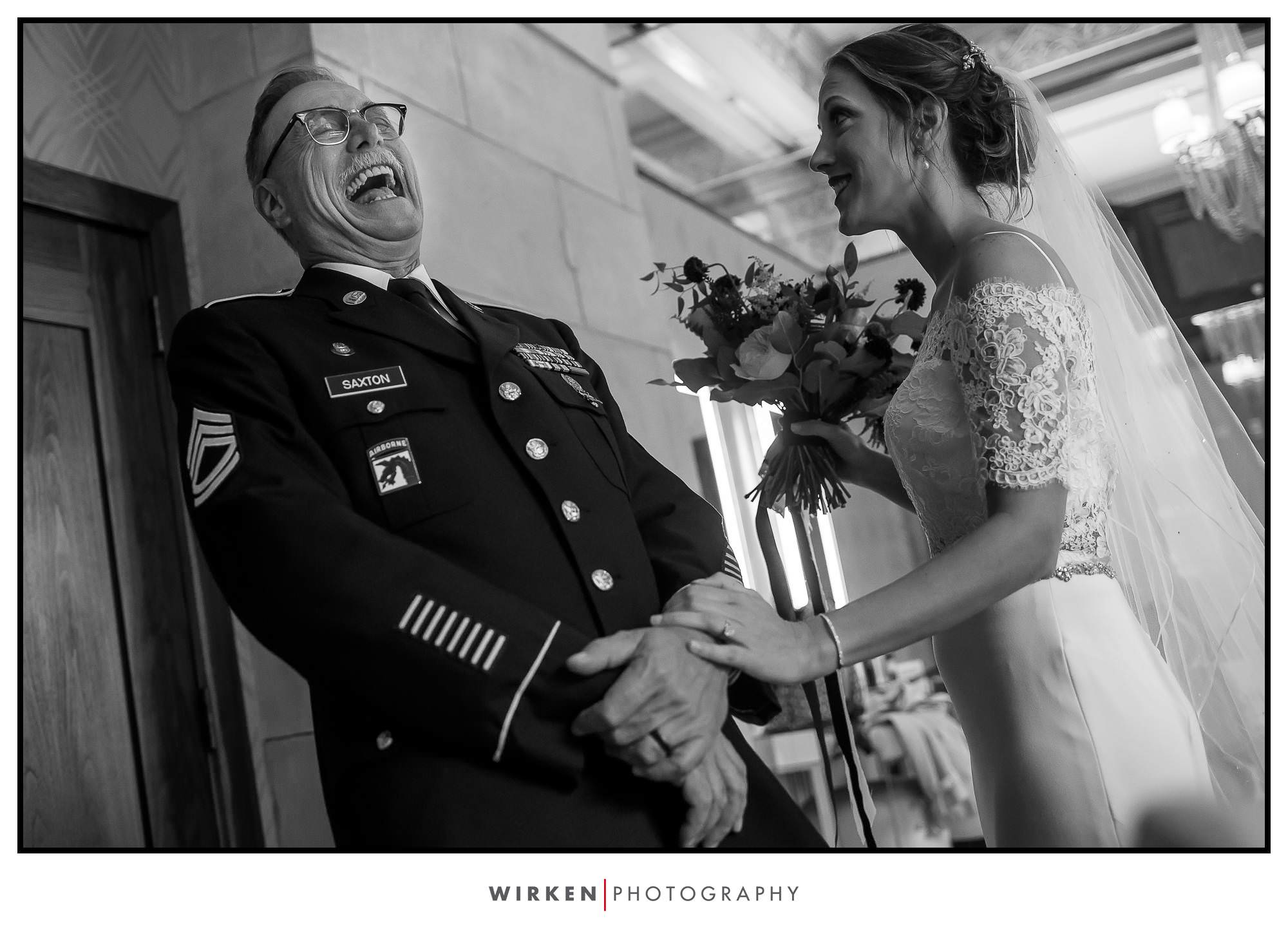 Bride and her father before she walks down the aisle at the grand hall in Kansas City.