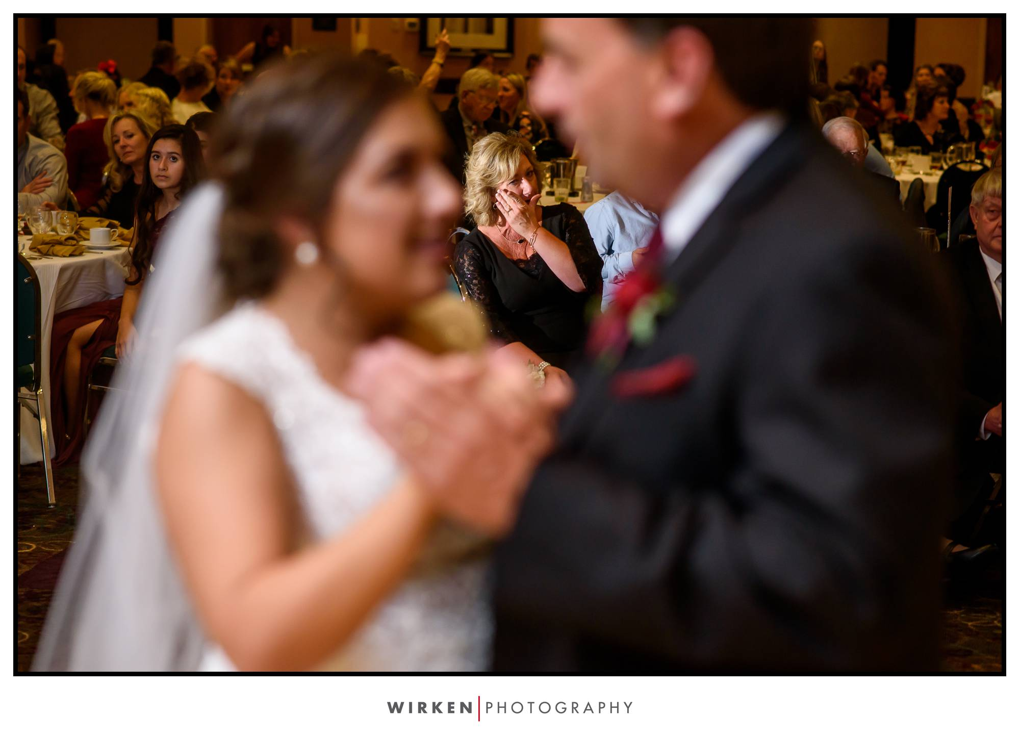mother of the bride cries at father daughter dance at kansas city wedding