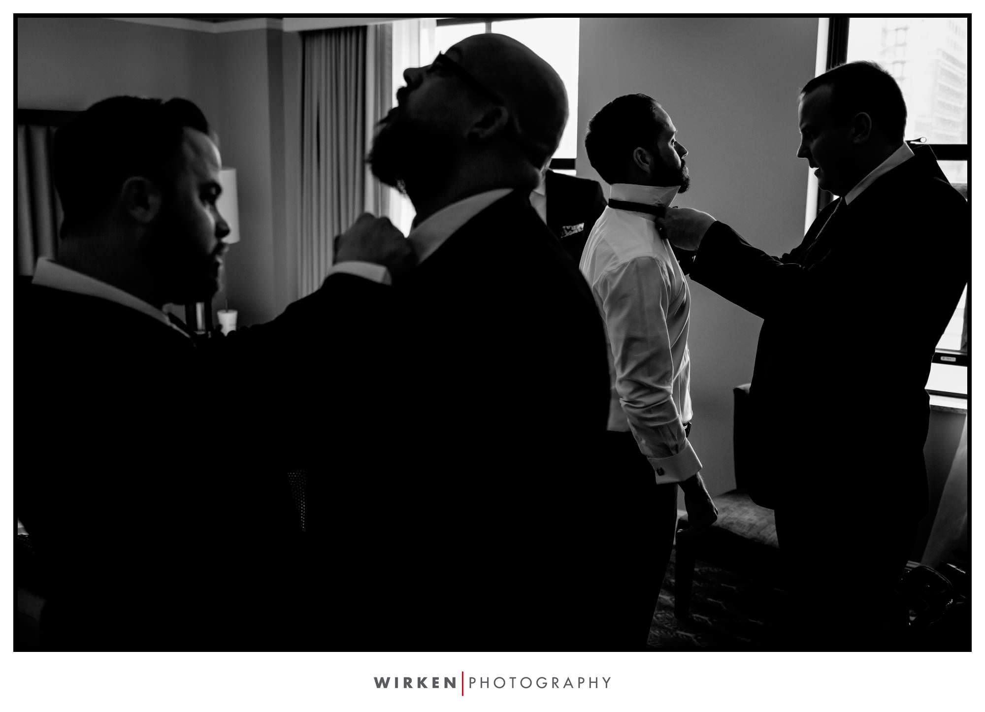 Ryan gets ready for his wedding at the Presidential Hotel in Kansas City.