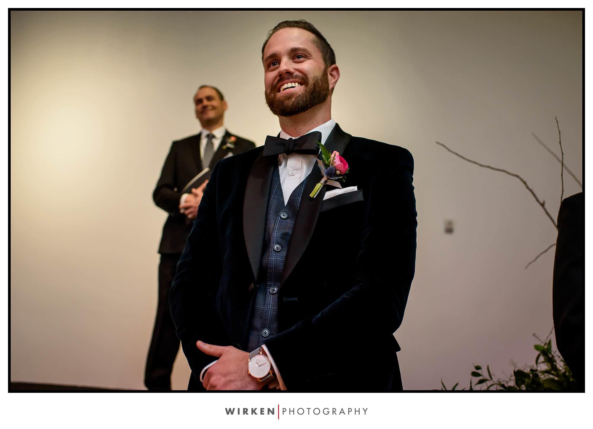 Ryan watches as Leah walks down the aisle.