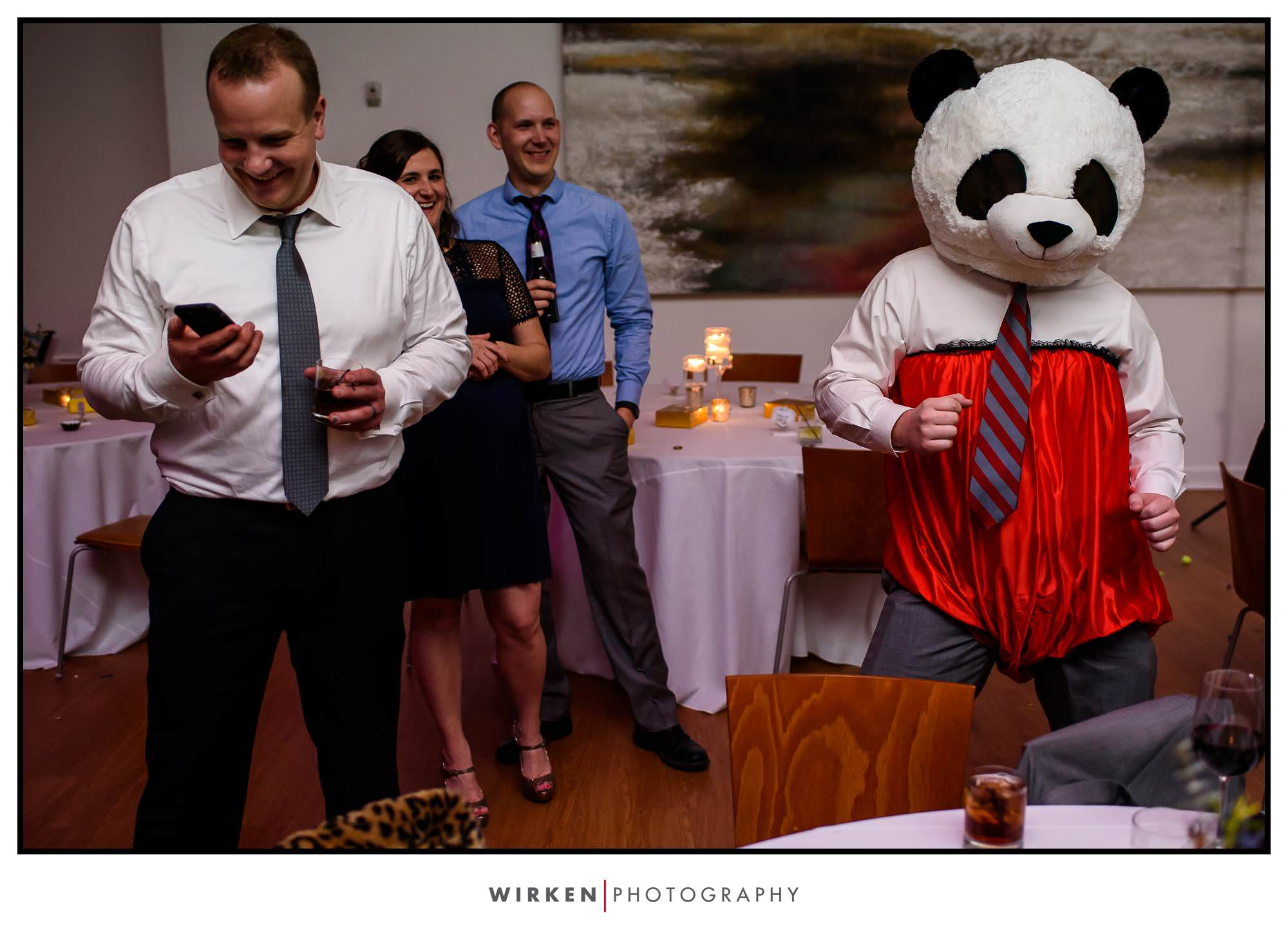 A panda costume at Leah and Ryans The Gallery Center Wedding Reception