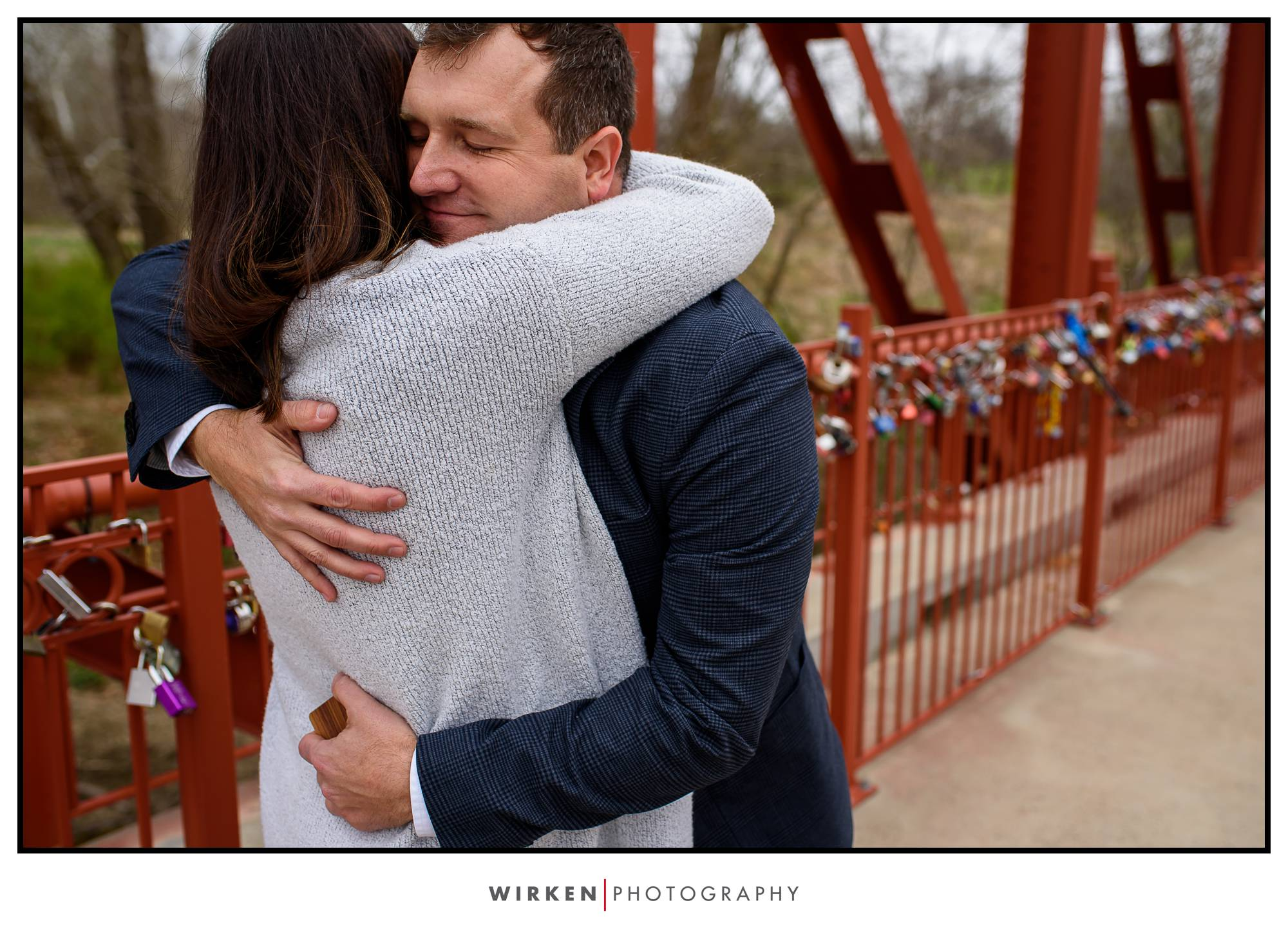 Beth says 'yes' after Brian's proposal on Love Locks Bridge in Kansas City.