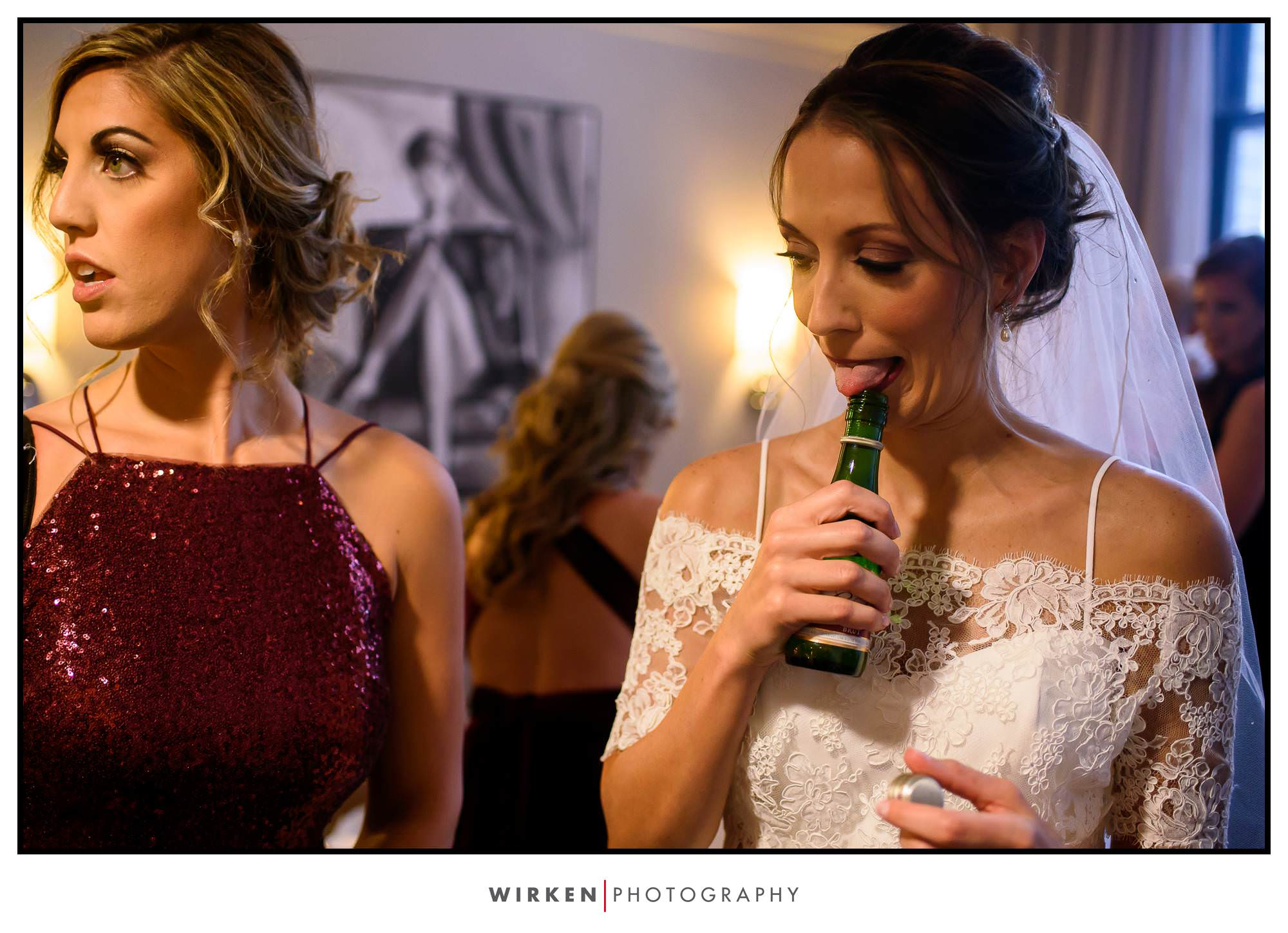Bride getting ready for her Kansas City wedding at the Grand Hall.