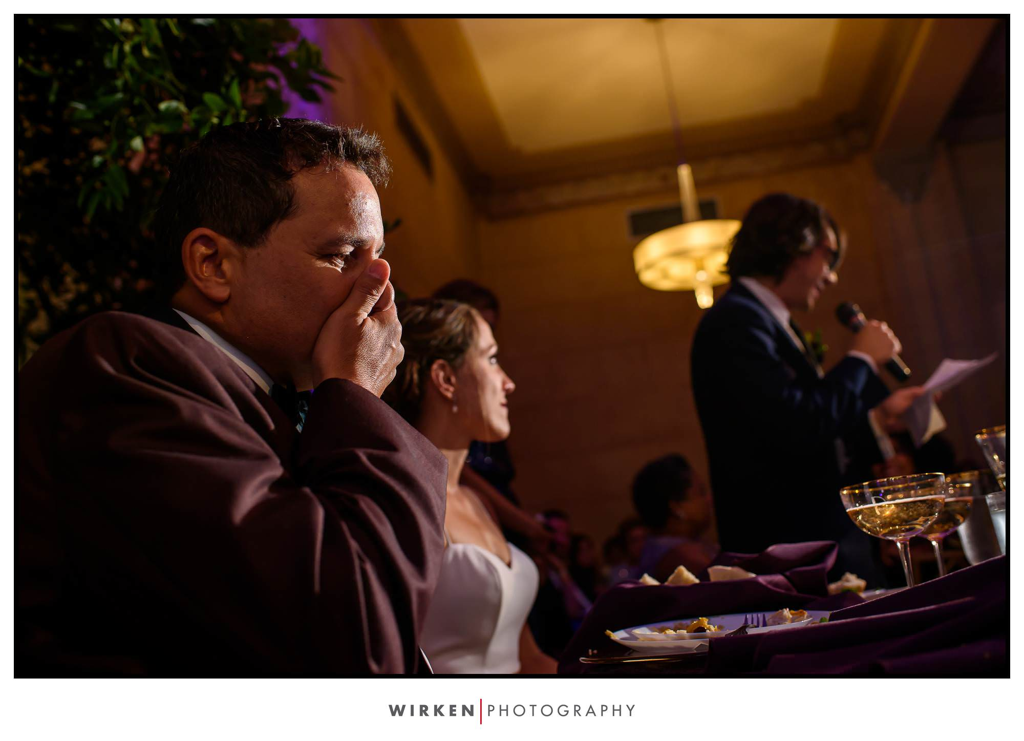 Groom chokes up during toasts at their Grand Hall wedding in Kansas City.