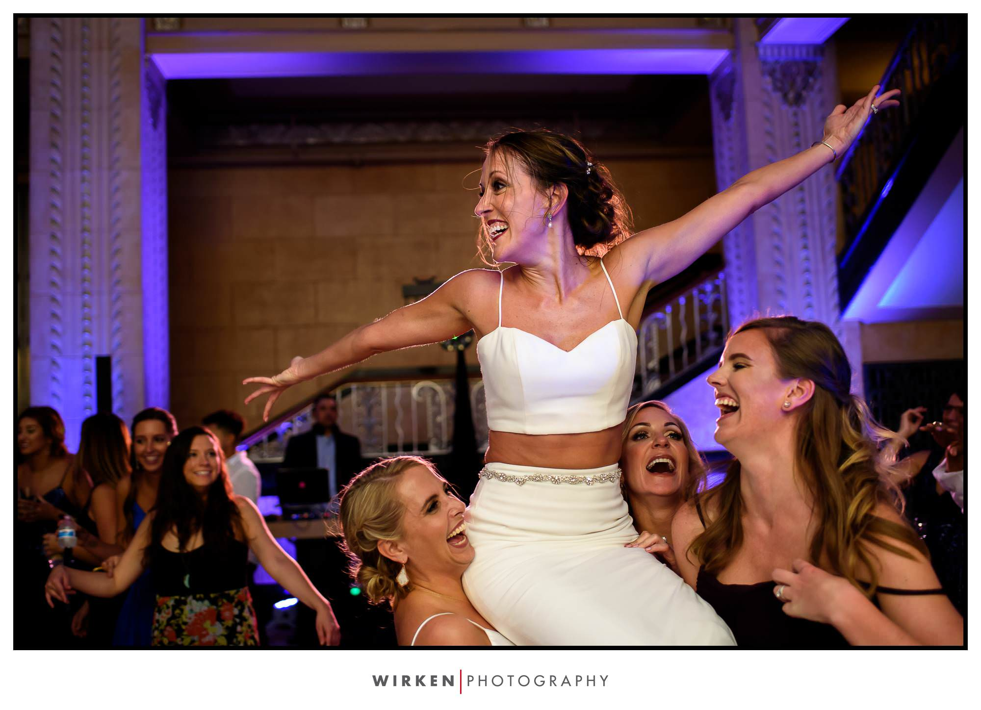 Bride dances at her Kansas City wedding in the Grand Hall