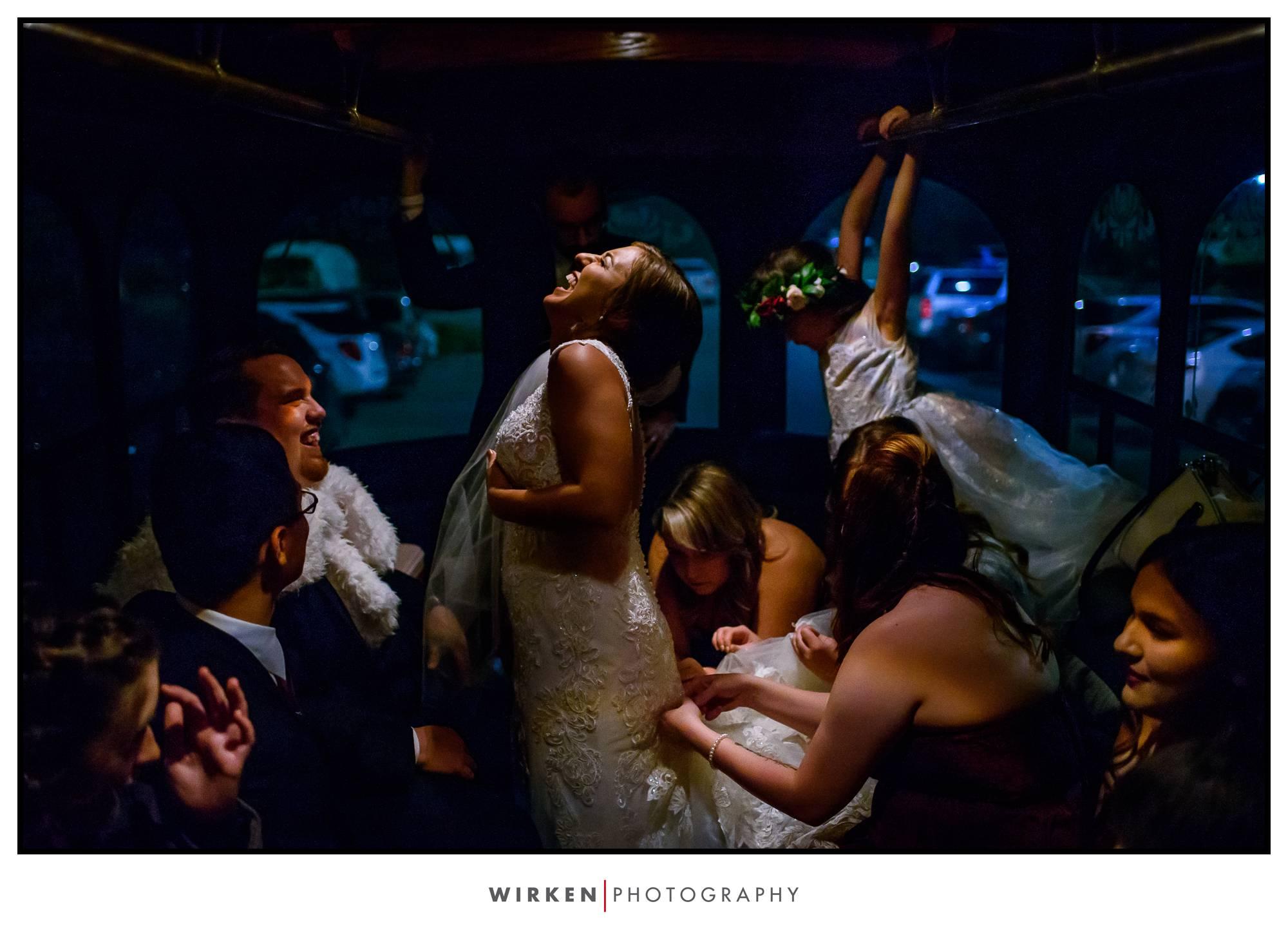brides dress bustled before kansas city wedding reception